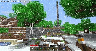 Minecraft – Blick aus der Ferne auf ein Haus