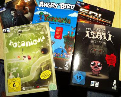 Foto von mehreren Retailboxen ausgewähler Indie-Spiele