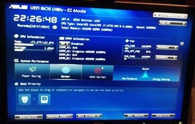 Screenshot vom Asus UEFI BIOS
