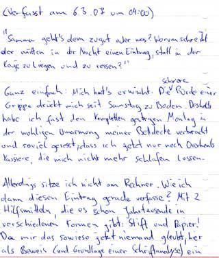 Der Beginn des Eintrags in Handschrift