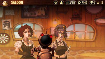 Drei Charaktere warten im Saloon mit Quests auf euch