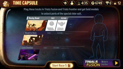 Der einzige Bildschirm im Spiel mit Cross-Promotion (Trials Frontier)
