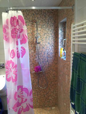 Die fertige Dusche